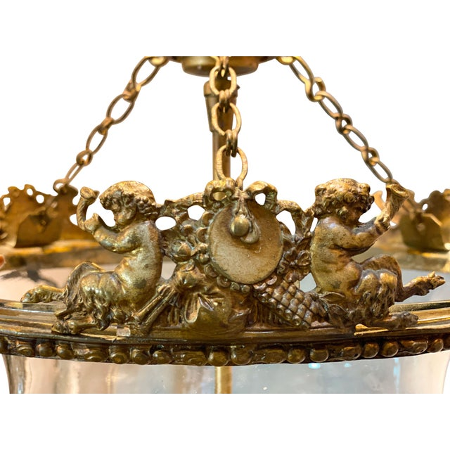 Louis Philippe Louis Philippe Brass Bell Form Hall Lantern For Sale - Image 4 of 8