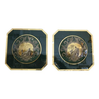 Italian Reverse Painted Glass Plaques - a Pair For Sale