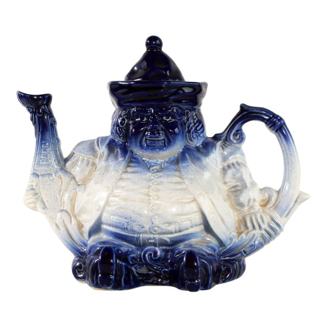 Flow Blue & White Staffordshire Style Figural Toby Judge Teapot For Sale