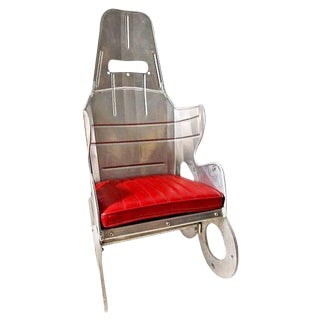 Late 20th Century Custom Made Aluminum Race Car Seat Studio Chair With Red Leather Cushion For Sale