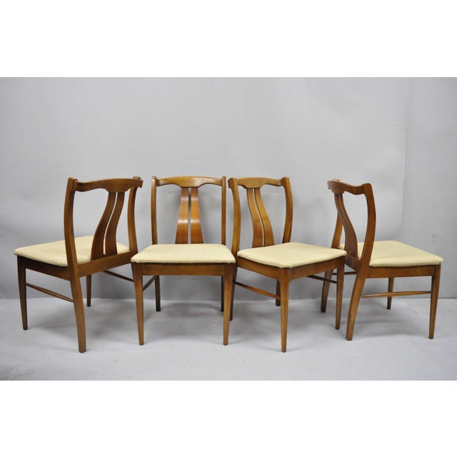 Vintage Mid-Century Modern Curved Back Walnut Dining Chairs - Set of 4 For Sale - Image 11 of 12