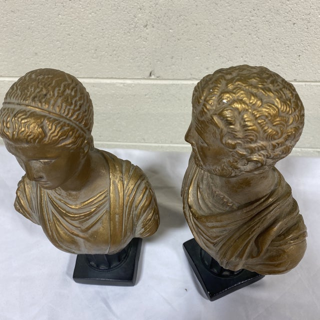Gold Vintage Neoclassical Chalk Ware Gold Leaf Busts - a Pair For Sale - Image 8 of 12