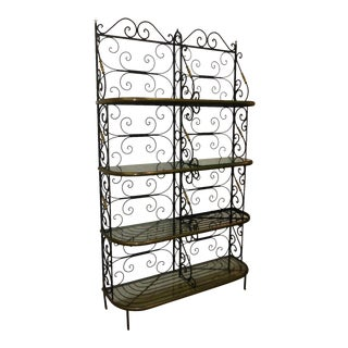 Vintage Baker's Rack Solid Wrought Iron W Solid Brass Hardware Bookcase For Sale