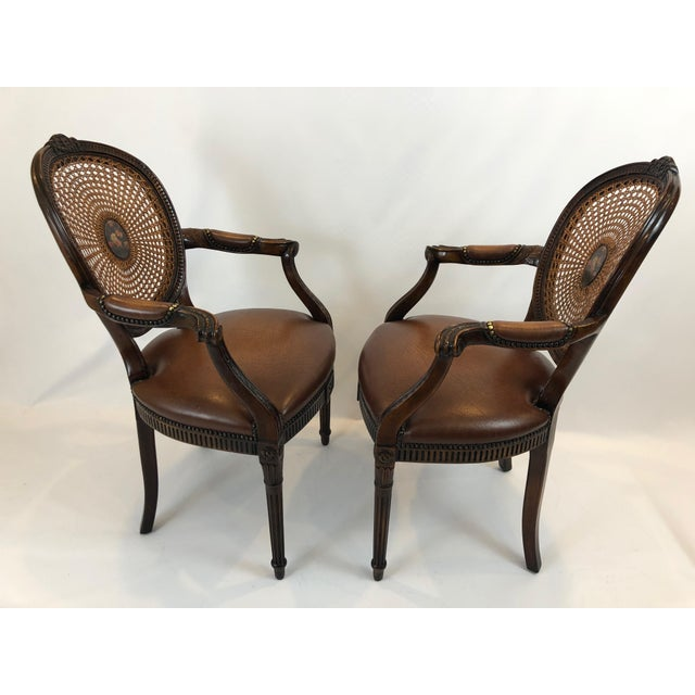 Caned and Cameo Back Armchairs - a Pair For Sale - Image 11 of 13