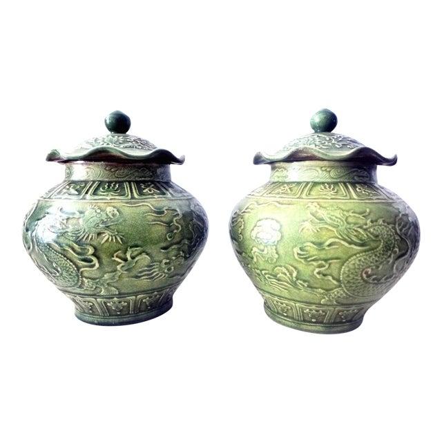 Dragons Celadon Lidded Ginger Jars - A Pair For Sale