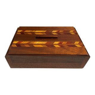 Art Deco Inlay Waterfall Box With Lid For Sale