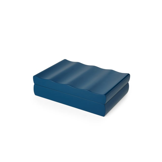 Contemporary Denston Box in Indigo Blue - Veere Grenney for The Lacquer Company For Sale - Image 3 of 3