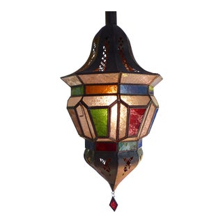 Multicolor Moroccan Glass Pendant Lantern For Sale