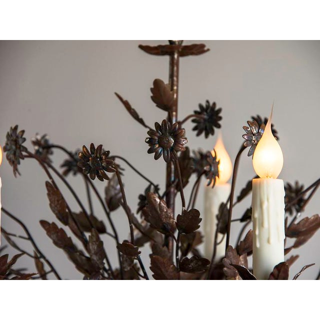 Brown 1940s Vintage Steel Floral Bouquet 5 Light Chandelier For Sale - Image 8 of 9