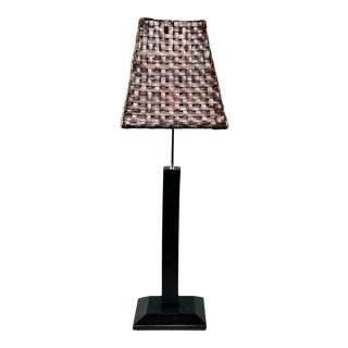 Mid-Century Italian Adjustable Lamp With Original Woven Leather Shade For Sale