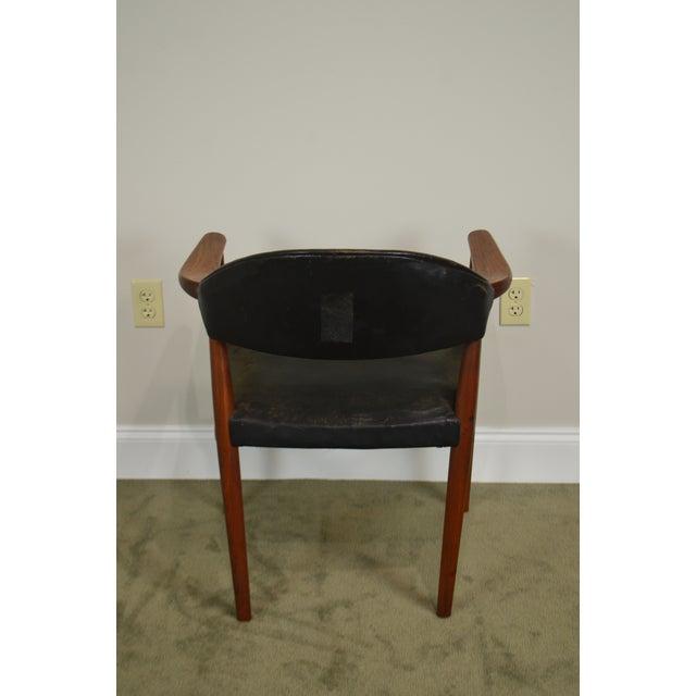 Animal Skin Danish Modern Teak & Black Leather Vintage Arm Chair For Sale - Image 7 of 13