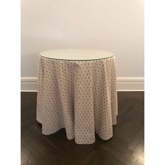 Custom Skirted Table With Glass Top - Image 2 of 5