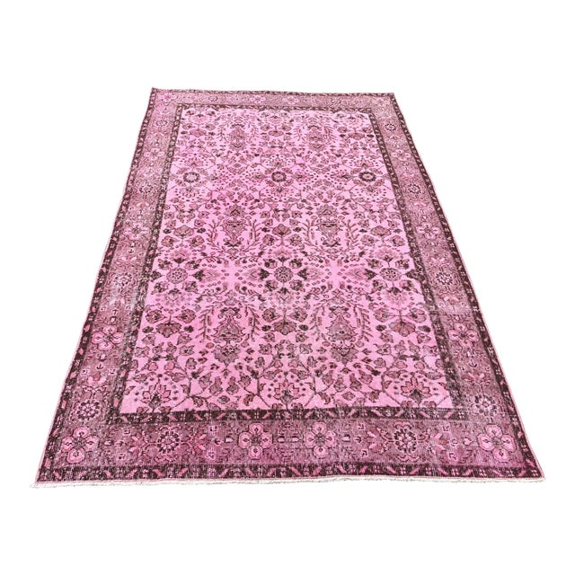 1960s Vintage Turkish Hand-Knotted Rug - 4′8″ × 8′3″ For Sale