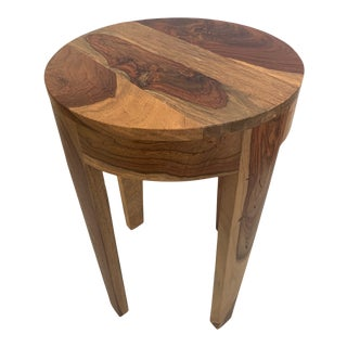 Mid Century Modern Mixed Wood Round End Side Table For Sale