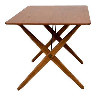 Hans Wegner AT308 Table with Brass Stretchers For Sale