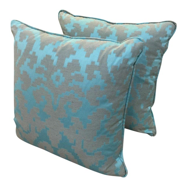Geometric Turquoise Throw Pillows - Pair For Sale