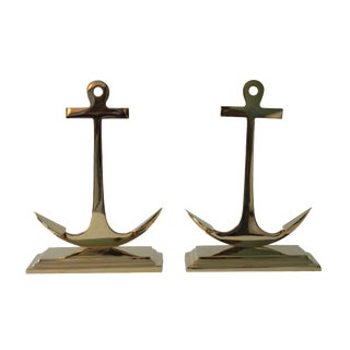 Large Brass Anchor Bookends - Pair For Sale