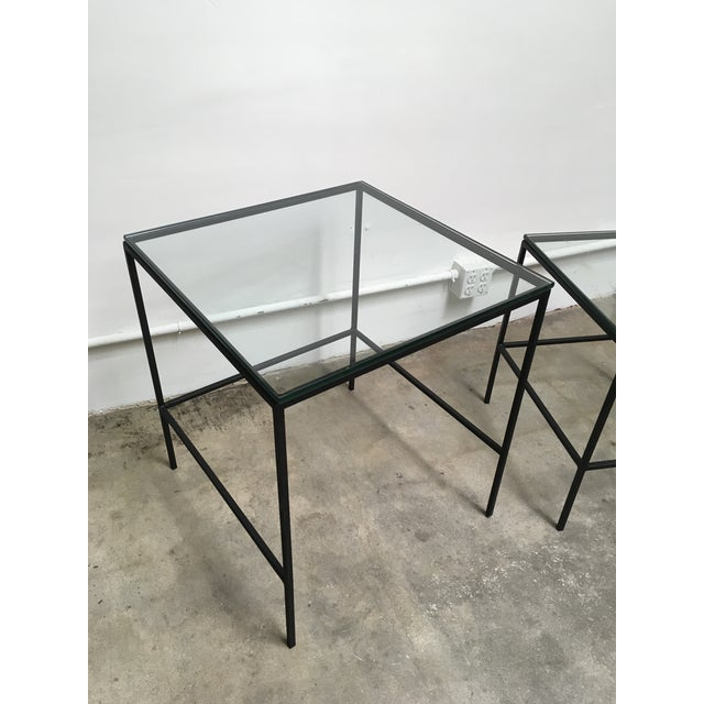1950s Mid Century Modern Black Iron Frame & Glass Top Nesting Tables - 2 Pieces For Sale - Image 9 of 13