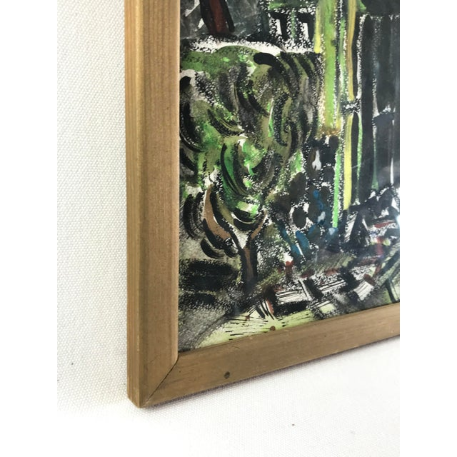 """1990s 1996 Small English Abstract """"Green House"""" Framed Painting For Sale - Image 5 of 11"""