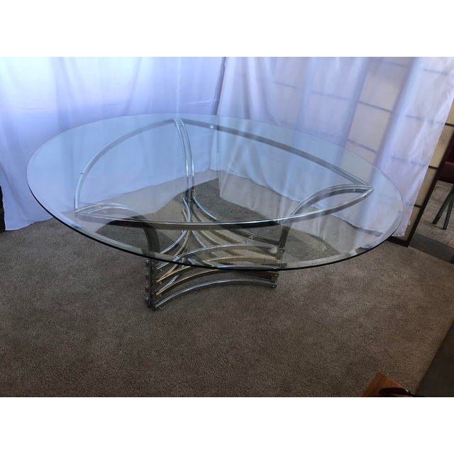 1980s Round Glass & Chrome/Brass Triangular Shape Dining Table For Sale - Image 11 of 13