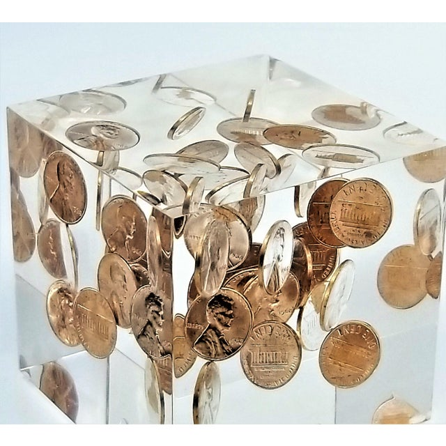 Metal Pop Art Mid Century Modern Lucite Sculpture of Pennies Dated 1970 - Andy Warhol Abstract Surrealism Palm Beach Boho Chic For Sale - Image 7 of 12