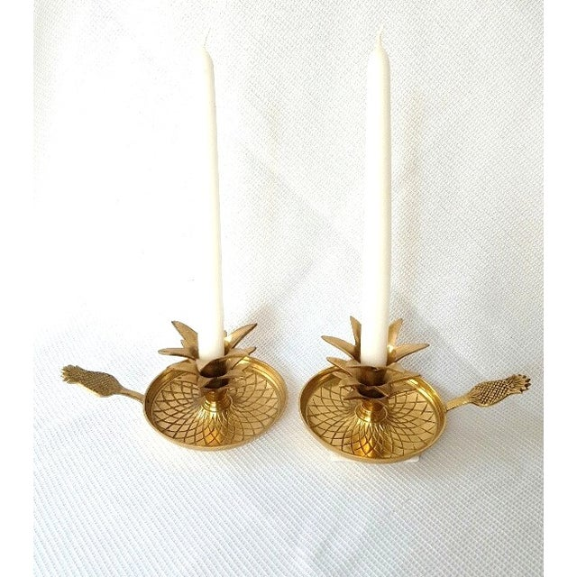Hollywood Regency Brass Pineapple Candle Holders - Image 4 of 6