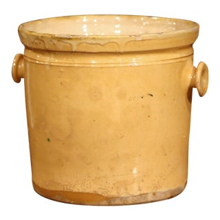 19th Century French Glazed Terracotta Kitchen Utensils Pot For Sale
