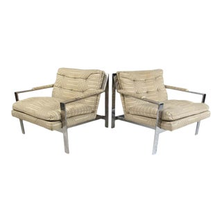 Milo Baughman Style Cy Mann Chrome Frame Lounge Chairs - a Pair For Sale
