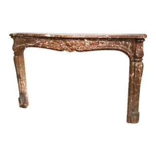 Louis XV Rouge Royale Brown Marble Mantel For Sale