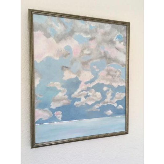 Pink Cloud Sky original painting by Natalie Mitchell A sky of calm pink and gray clouds over an ice blue sea with a silver...