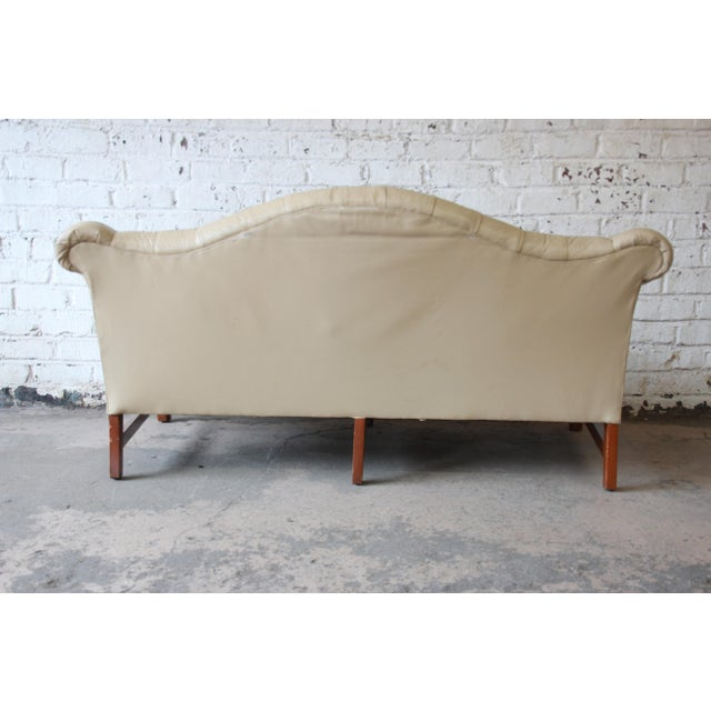Vintage Tufted Tan Leather Chesterfield Sofa For Sale - Image 9 of 10