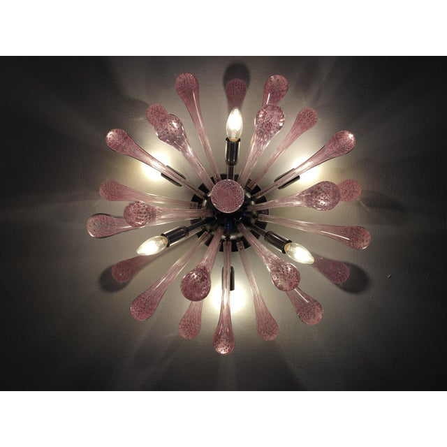 Glass Pink Murano Glass Sputnik Flush Mount For Sale - Image 7 of 9