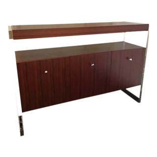 Lucite and Teak Console Table by Mitchell Gold and Bob Williams For Sale