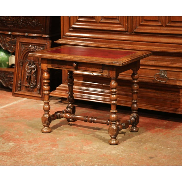 19th Century, French, Louis XIII Carved Walnut Table Desk With Red Leather Top For Sale - Image 11 of 11