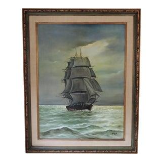 The Square Rigger Sailing Ship, George E Lee Oil on Canvas