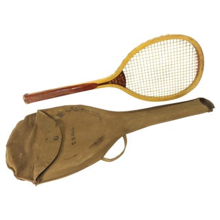 Antique Boston Made Wood Tennis Racket For Sale