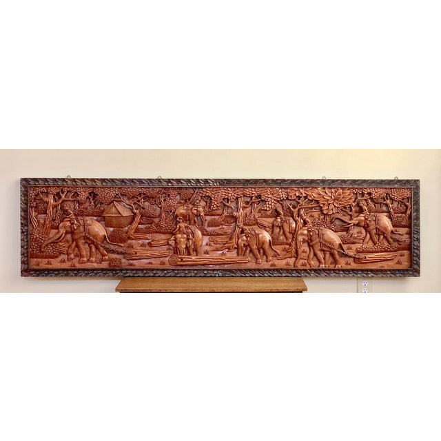 Large Vintage Wall Sculpture 3d Hand Carved Relief Teak Panel For Sale - Image 13 of 13