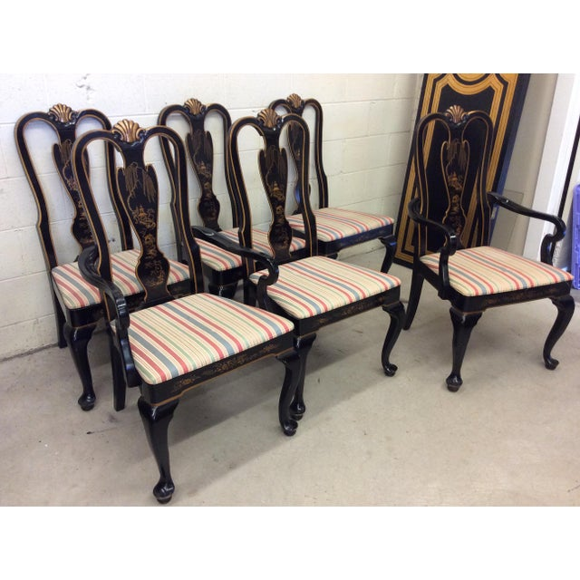 Drexel Heritage Black Lacquer Asian Style Dining Chairs - A set of 6 For Sale - Image 11 of 11