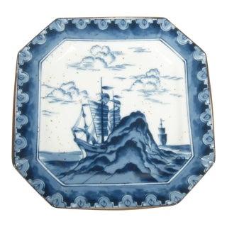 Japanese Blue & White Scenic Plate