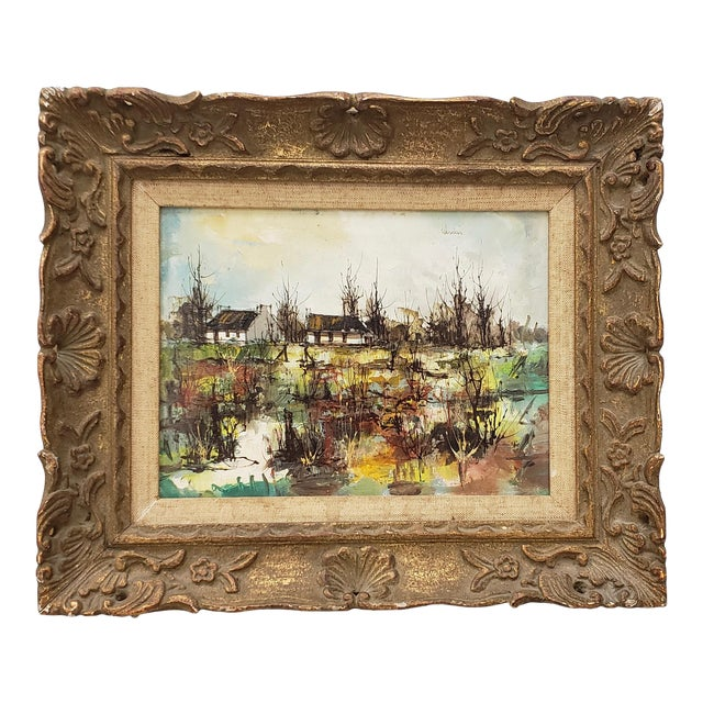 Maurice Verdier (France, 1919-2003) Vintage Normandy Village Landscape C.1970s For Sale