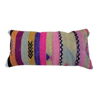 1960s Vintage Multi-Color Kilim Lumbar Pillow For Sale