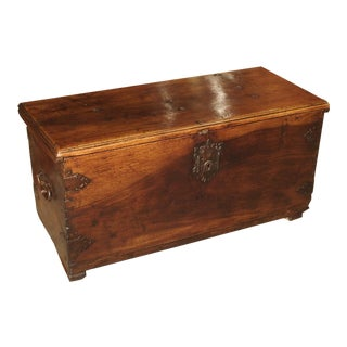 Circa 1650 Walnut Wood Trunk From Spain For Sale