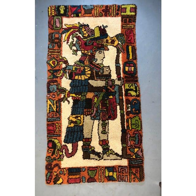 Boho Chic Mid Century Aztec Warrior Shag Rug For Sale - Image 3 of 12