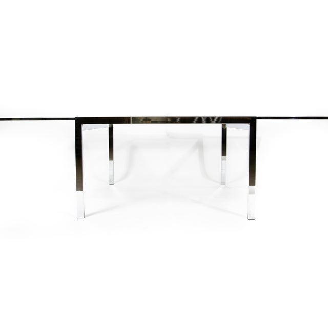 Modern 1950s Modern Milo Baughman Nickel Plated Glass Expansion Table For Sale - Image 3 of 10