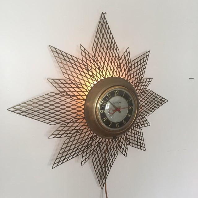 Brass Starburst Wall Clock - Image 6 of 7