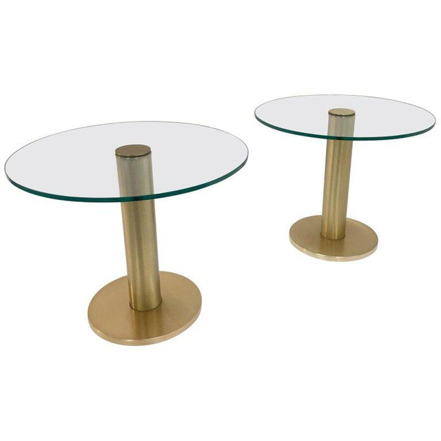 Brass Pace Collection Satin Brass and Glass Side Tables - a Pair For Sale - Image 7 of 7