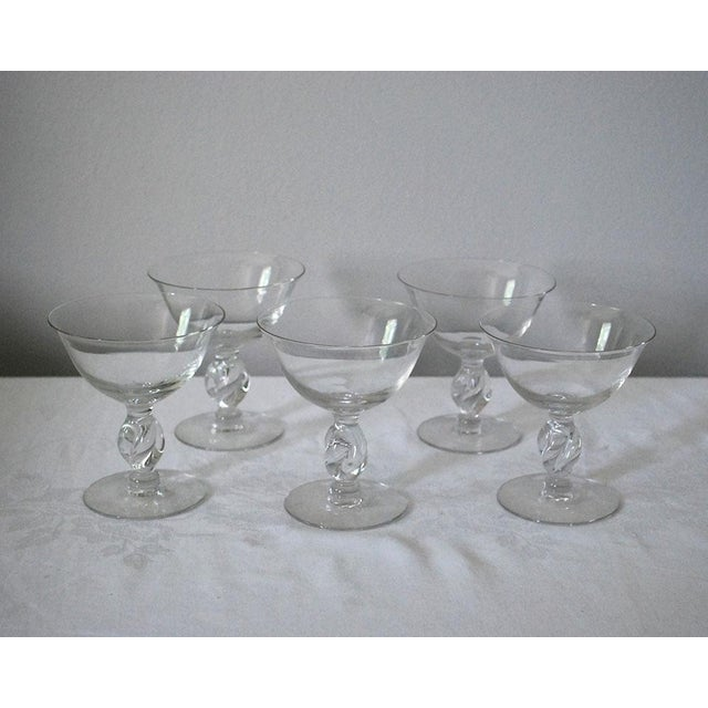 Glass 1950s Vintage Imperial Twist Champagne Glass Coupes - Set of 5 For Sale - Image 7 of 8