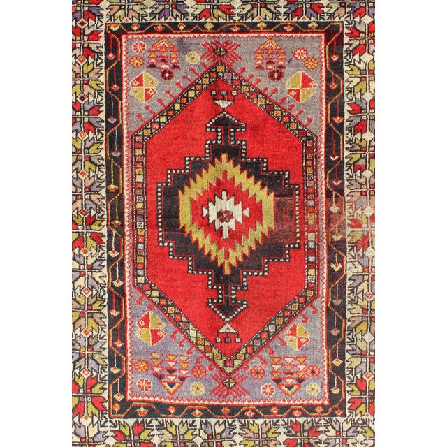 Turkish Keivan Woven Arts, L11-1001,, 1920s Antique Turkish Oushak Rug - 3′7″ × 4′10″ For Sale - Image 3 of 7