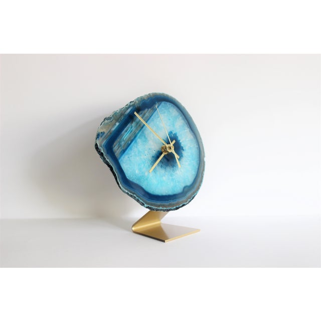 Agate Slice Teal Desk Clock - Image 5 of 6