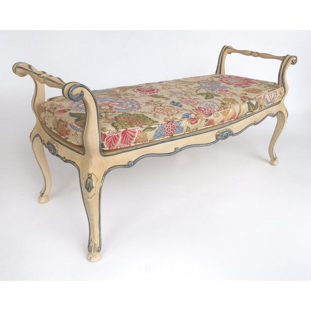 Offered for sale is a Louis XV style bench from a bedroom suite by John Widdicomb of Grand Rapids, MI, This hand-painted...